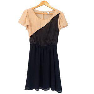 Black and Tan Asymmetrical Bodice Dress
